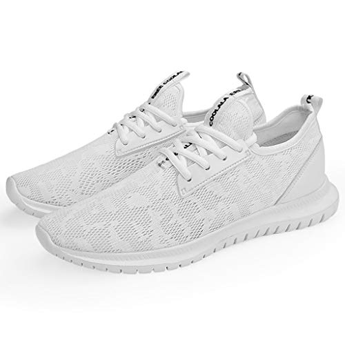 Aunimeifly Couple Sport Sneakers Lace Up Mesh Breathable Soft Lightweight Running Casual Athletic Shoes White