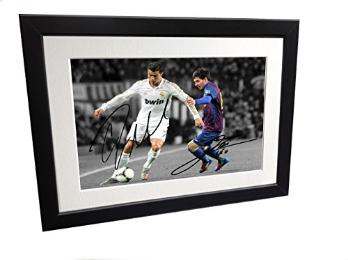 Signed Black Soccer Cristiano Ronaldo Real Madrid Lionel Messi Barcelona Autographed Photo Photograph Picture Frame Gift SM by Kicks