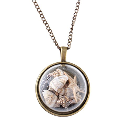 Swyss Ocean Element Glass Cover Pendant Necklace Beach Conch Shell Sea Star Chic Charm Jewelry Accessories New