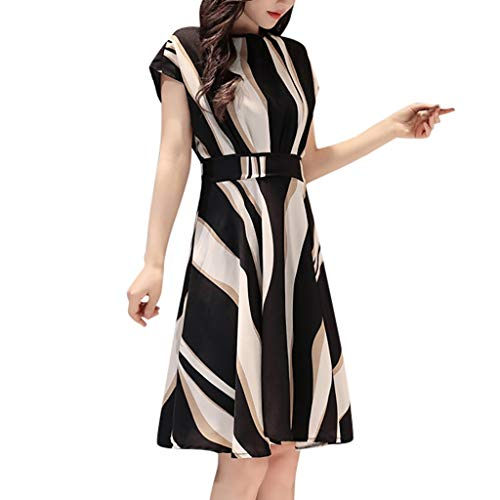 Airpow Women Belt Midi Dresses | Elegant Striped Crew Neck Short Sleeve Knee Length Sundress Pleated A-Lined Swing Dress (L, Black)