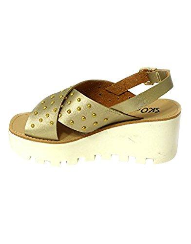 Sandalias de verano con suela de plataforma, sandalias cuñas con plataformas Gold (4073-2)