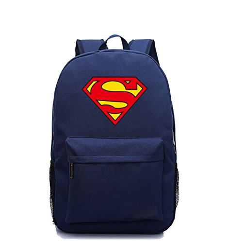 Backpack Superman (YOURNELO Leisure DC Comics Marvel Heroes High Capacity Rucksack School Backpack Bookbag (Superman Navyblue))