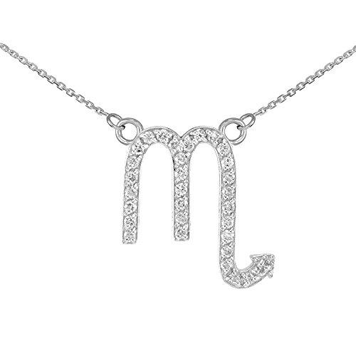 Collier Femme Pendentif 14 ct Or Blanc Scorpion Signe Du Zodiaque Diamant (Livré avec une 45cm Chaîne)