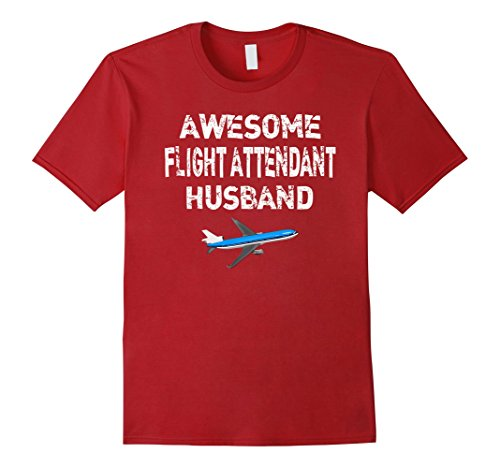 Red Air Hostess Costume (Mens Flight Attendant Husband T Shirt Gift Air Hostess Shirt Small Cranberry)
