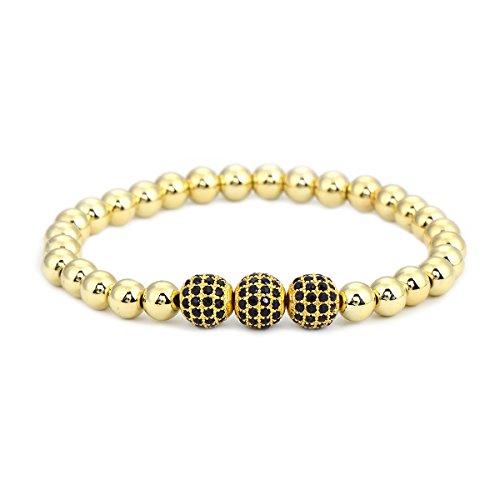 Crystal Stretch Bracelet Watch - Pipitree 6mm Copper Beads CZ Crystal Stretch Bracelet Gold Elastic Strand Bracelet For Women