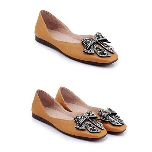 Femelle Femme Hwf Noir Jaune Femmes Plates couleur Chaussures Pour Étudiant Été Le Taille 35 Confortable Simples P0qwxqC