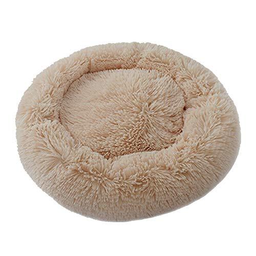 Keepbest Beruhigendes Bett für Hunde und Katzen, rundes Nest, warm, weiches Plüsch, bequem zum Schlafen im Winter (Light…