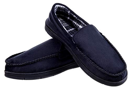 7ff25ad0456e Festooning Men s Moccasin Slippers Memory Foam Microsuede Slip on Flats  Shoes Indoor Outdoor