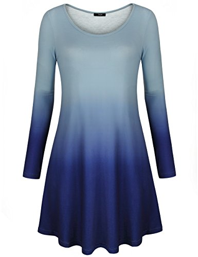 Ombre Scoop (Laksmi Work Shirts For Women, Ladies Blouse Loose Casual Scoop Neck Dip Dye Ombre Long Sleeve Tunic Tops,Blue X-Large)