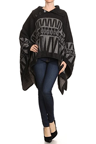 LL Womens Gray Black Button Fashionable Geometric Fall Winter Poncho Pullover - Wide Sweater Sleeve