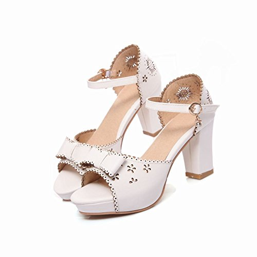 Charm Foot Womens Fashion Open Toe Bows Ankle Strap High Heel Heeled Sandals White QjkTamuStT