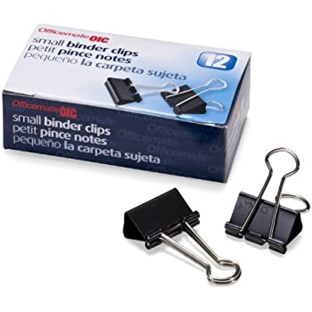 Officemate Small Binder Clips, Black, 12 Boxes of 1 Dozen Each (144 Total) (99020)
