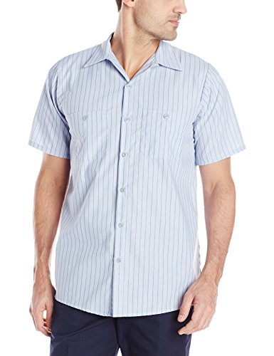 (Red Kap Men's Industrial Stripe Work Shirt, Light Blue/Navy Stripe, Short Sleeve Large)