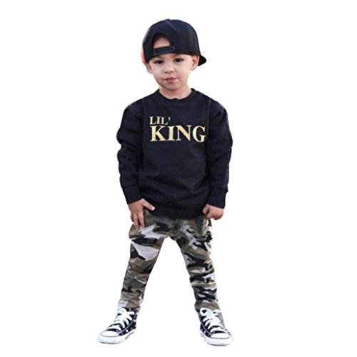 2Pcs Outfit Set Baby Boy King T shirt Tops+Camouflage Pants (3T, Black)