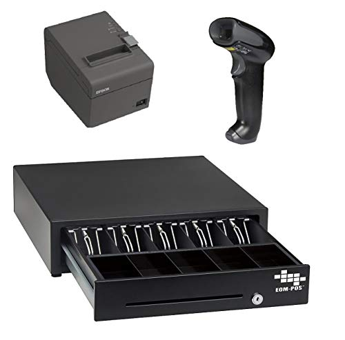 POS Hardware Bundle for Square Stand- Cash Drawer, Thermal Receipt Printer, and Barcode Scanner [Compatible with Square Stand with iPad Only]