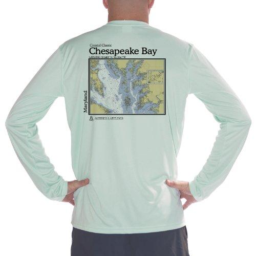 Altered Latitudes Mens Chesapeake Bay Chart UPF Long Sleeve TShirt XXLarge Seagrass