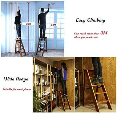 Multifunktionsleiter Regal f/ür K/üche//B/üro//Librarian,White f/ünf Ebenen Leiter Folding Holz Leiter Leiter Klapphocker