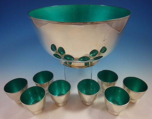 (Towle Sterling Silver Punch Bowl and Cups with Turquoise Enamel (#1392))