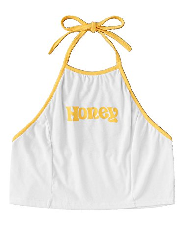 b4f0f684cf1 Romwe Women's Honey Letter Print Ringer Halter Backless Cami Crop Top White  L