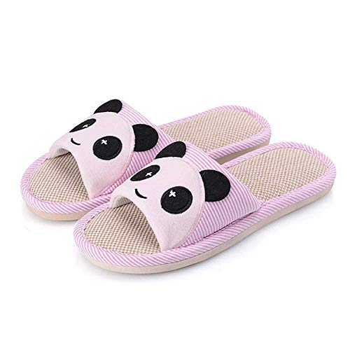 Toe Open Unisex 3 Bear Home Pink Shoes Linen Cartoon Flax Casual Soft Slide Slippers FAnxntU