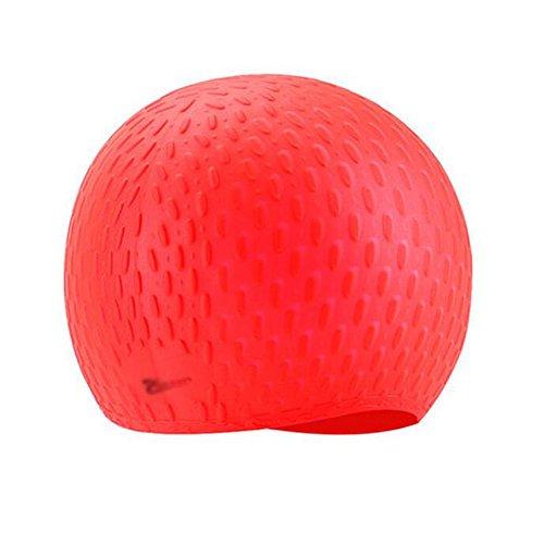 Bonnet de bain en silicone pour adultes - rouge