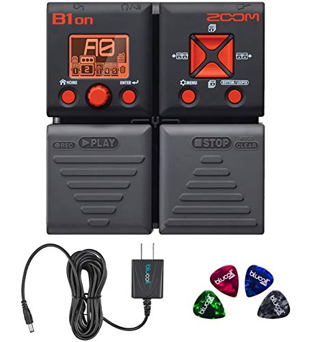 Zoom Bass Effects Pedal - Zoom B1ON Bass FX Pedal with Built-In Tuner Bundle with Blucoil Slim 9V 670ma Power Supply AC Adapter, and 4-Pack of Celluloid Guitar Picks
