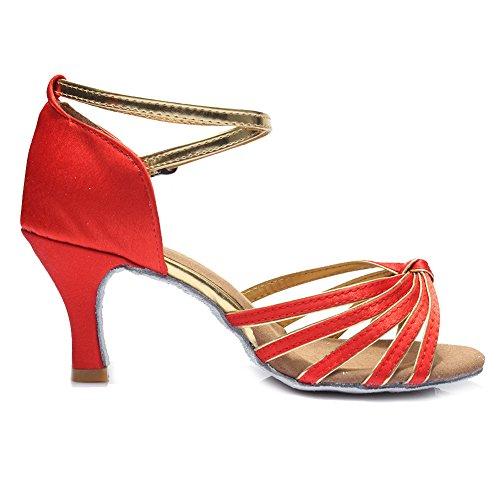 Ballroom Satin Dance Women's Red 217 Samba Chacha Shoes Latin S7 Modern HROYL 7CM Standard zqHfww1
