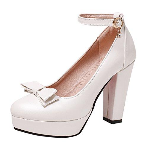 YE Damen Rockabilly Pumps Geschlossene Blockabsatz High Heels Plateau mit Riemchen und Schleife 8cm Absatz Elegant Schuhe Weiß