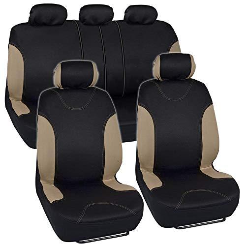 (BDK OS-334-BG Tan Trim Black Car Seat Covers Full 9pc Set - Sleek & Stylish - Split Option Bench 5 Headrests Front & Rear Bench)