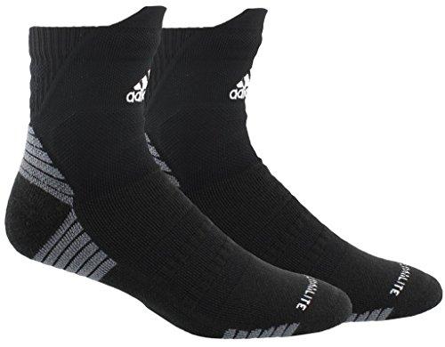 adidas Unisex-US Alphaskin Maximum Cushioned High Quarter Socks (1-Pair), Black/White/Onix, 9.5-12