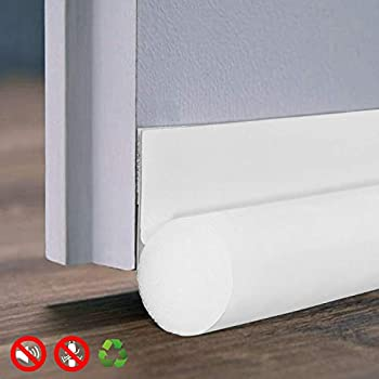 IDEALCRAFT Door Draft Stopper Sweep Bottom Seal, Under Door Gap Blocker Stop Drafty Dust and Noise Insulation, 36 Inches Length, White