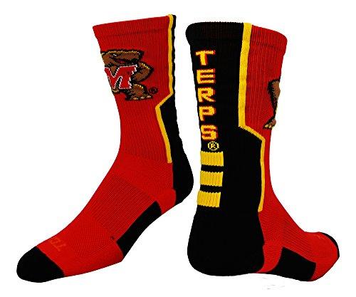 Maryland Perimeter Crew Socks (Red/Black/Gold, Medium)