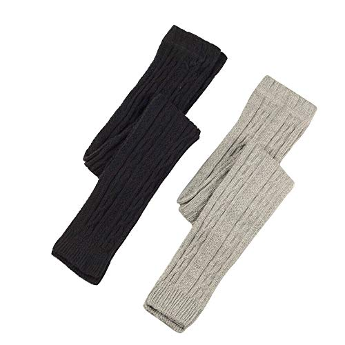 Cable Knit Kids Girls Cotton Rich Fashion Footless Ankle Legging Tight Thick 2 Pairs Pack (Black & Grey, 7-8y Height 46