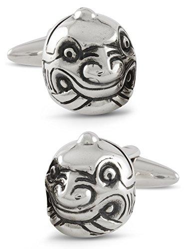 - ZAUNICK Chavin Head Peru Cufflinks Sterling Silver