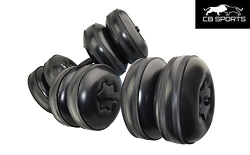2017 NEW CB Sports Deluxe, Travel Dumbbells - Heavy Weight upto 55lb/25kg + FREE Extension Pole - Adjustable, Portable Dumbbells - Home Workout Equipment (Set of 2) FILL WITH WATER - BLACK by CB Sports