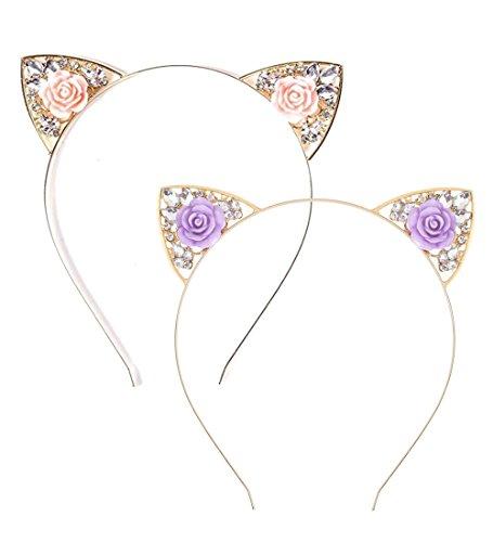VK Accessories 2 pcs Rose Pink Flower Cat Ear Headband for Women Girls 02 ()