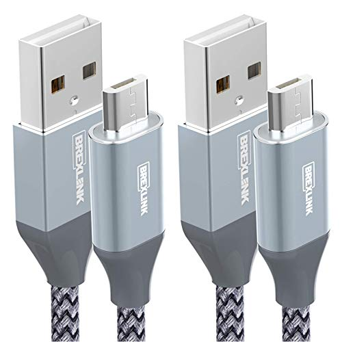 Micro USB Cable Android, BrexLink Micro USB to USB 2.0 Cable (2-Pack, 6.6 FT) Nylon Braided Fast Charging Cable…