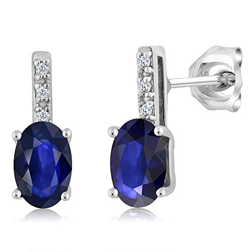 Gem Stone King 0.90 Ct Oval 6x4mm Blue Sapphire and Diamond 14K White Gold Stud Earrings