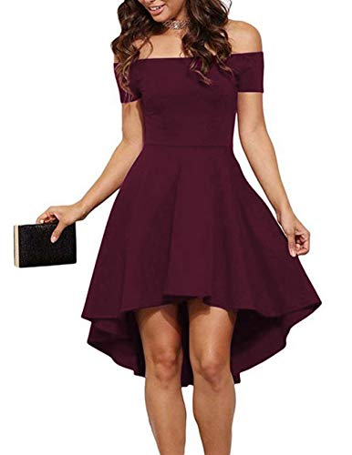 Sarin Mathews Women Off The Shoulder Short Sleeve High Low Cocktail Skater Dress Burgundy S (Plain Homecoming Dress)