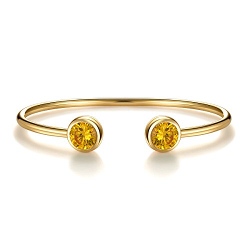 November Simulated Citrine Birthstone Cuff Bangle Bracelet Crystal Gold Plated Bangle Bar Birth Month Charm Valentine's Day Gifts For Wife Girlfriend Jewelry Gifts for Girls Anniversary Gifts for Her ()