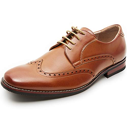 (Men's Oxfords Classic Wing Tip Formal Dress Shoes (8.5 M US, Tan3))