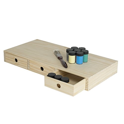 Art Supply Storage Unfinished Solid Wood Box for Arts Crafts Hobbies Home Décor with 3 Drawers