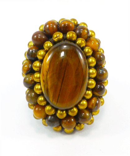Rule Ja Costume (Bijoux De Ja Handmade Brown Jasper Crochet Adjustable Cocktail Ring Size)