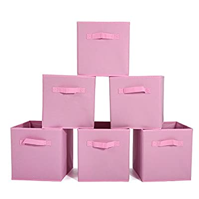 GEMITTO 6 Pack Storage Cubes, Foldable Fabric Storage Bins Basket Containers with Dual Handles for Home Closet Nursery Drawers Organizer Pink - Ships from US warehouse(fast delivery): The storage box is a new type of fiber product that is made of polyester and nonwoven fabric, soft and breathable. It can effectively prevent all kinds of aphids from invading. Suitable for home leisure life. Storage Expert: The daily use of small clothes is always a headache, the storage box can store accessories such as underwear, socks, ties, etc. Make your wardrobe clean and tidy, quickly find what you need, saving you precious time. 2 Handles Design: These nonwoven fabric storage boxes can be easily slided in and pulled out of cube shelves thanks to their sewn in handles, durable and easy to use. Besides, it is also easy to carry with these handles. - living-room-decor, living-room, baskets-storage - 41b3bWKfzqL. SS400  -