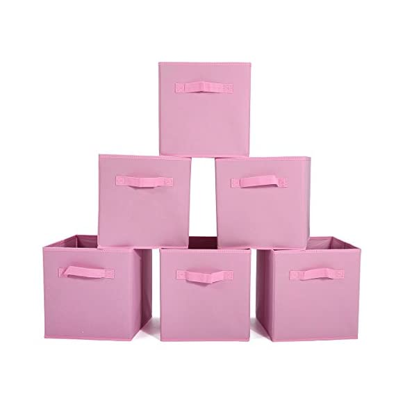 GEMITTO 6 Pack Storage Cubes, Foldable Fabric Storage Bins Basket Containers with Dual Handles for Home Closet Nursery Drawers Organizer Pink - Ships from US warehouse(fast delivery): The storage box is a new type of fiber product that is made of polyester and nonwoven fabric, soft and breathable. It can effectively prevent all kinds of aphids from invading. Suitable for home leisure life. Storage Expert: The daily use of small clothes is always a headache, the storage box can store accessories such as underwear, socks, ties, etc. Make your wardrobe clean and tidy, quickly find what you need, saving you precious time. 2 Handles Design: These nonwoven fabric storage boxes can be easily slided in and pulled out of cube shelves thanks to their sewn in handles, durable and easy to use. Besides, it is also easy to carry with these handles. - living-room-decor, living-room, baskets-storage - 41b3bWKfzqL. SS570  -