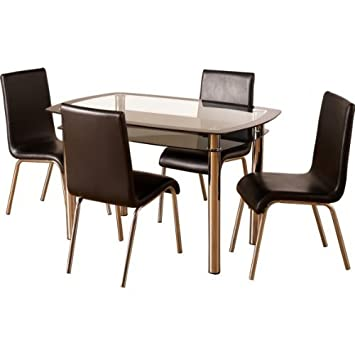 Harlequin Clear Glass Table//Black Faux Leather Chrome Chairs Kitchen Dining Set