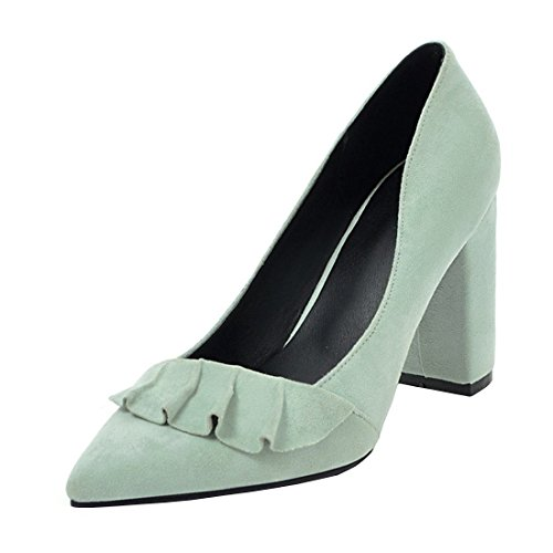 YE Damen Spitze Pumps Blockabsatz High Heels mit Absatz 9cm Elegant Schuhe Grün