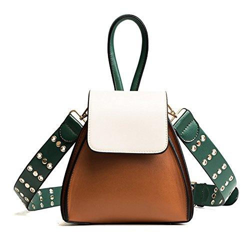 Bolso Del Cubo De Cuero De La PU De Las Mujeres Rivet Correa De Hombro Ancha Diagonal Del Hombro Paquete Moda Hit The Color Handbag Brown
