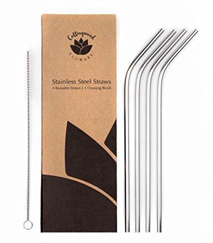 Long Reusable Stainless Steel Straws - Free Cleaning Brush + E-Book! Fits 30 oz Tumbler & 20oz Tumblers | Eco Friendly Drinking Straws! 4 Metal Straws For Yeti Ozark RTIC, Perfect Yeti Straws