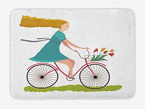 Bicycle Bath Mat, Young Woman on Bike with Basket of Tulip Flowers Riding in The Spring Countryside, Plush Bathroom Decor Mat with Non Slip Backing, 23.6 W X 15.7 W Inches, Multicolor